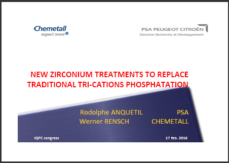 New Zirconium Treatments to Replace Traditional Tri-Cations Phosphatation