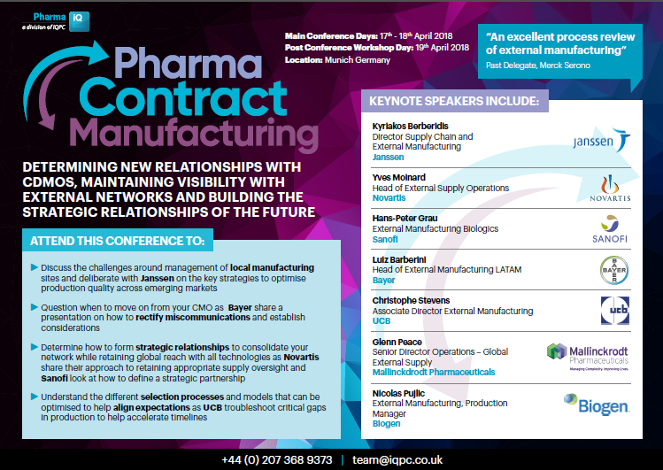 2018 Pharma Contract Manufacturing Brochure