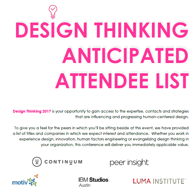 2017 Design Thinking Anticipated Attendee List