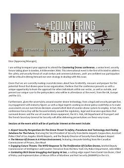 Convince the boss letter - Countering Drones 2016