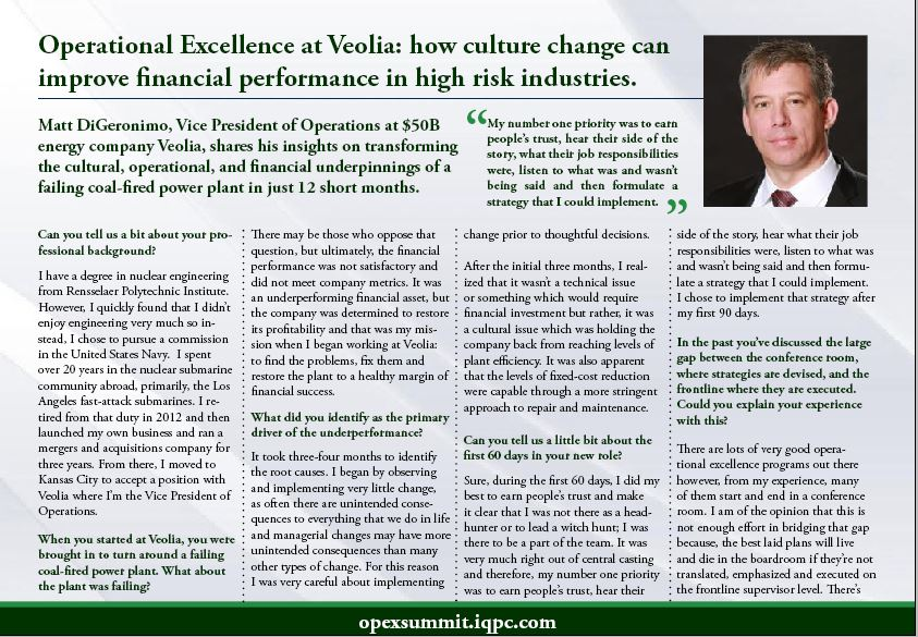 Operational Excellence at Veolia: how culture change can improve financial performance in high risk industries.