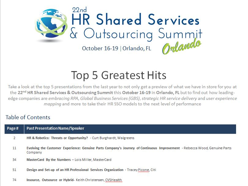 The HR Shared Services & Outsourcing Summit's Top 5 Greatest Hits