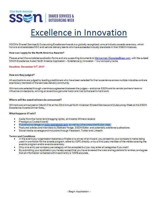 Excellence in Innovation Award Application