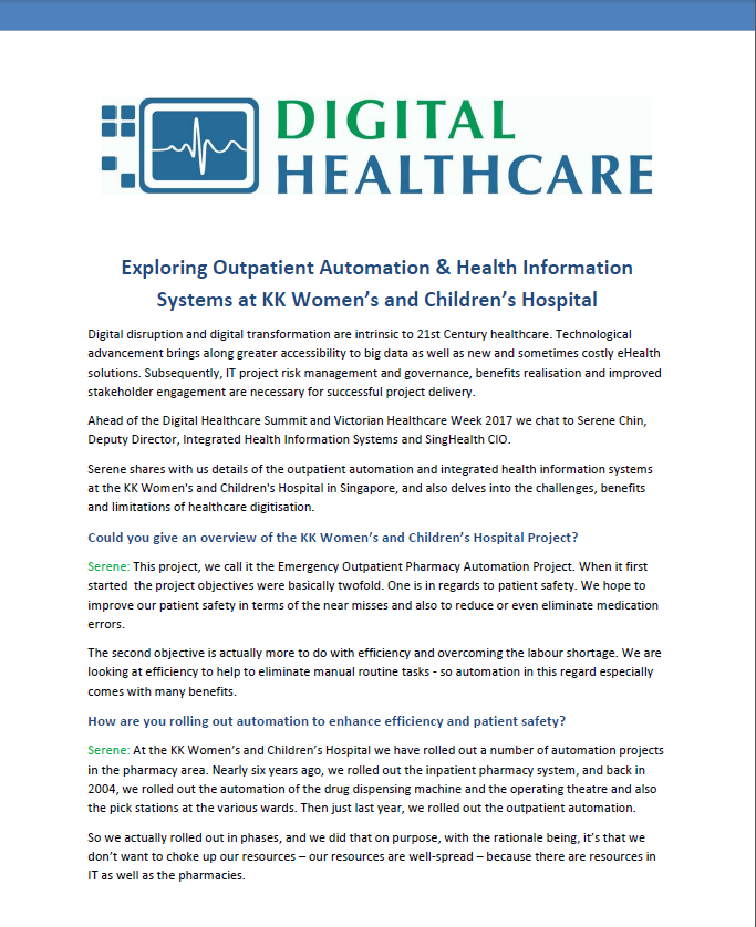Outpatient Automation & Health Information Systems at KK Women's and Children's Hospital
