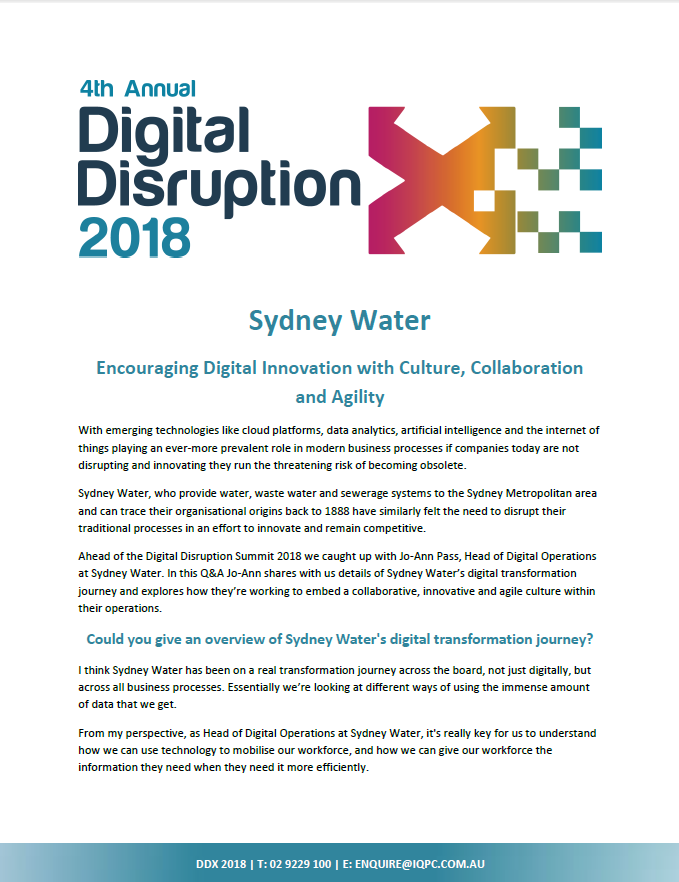 Encouraging Innovation with Culture, Collaboration & Agility at Sydney Water