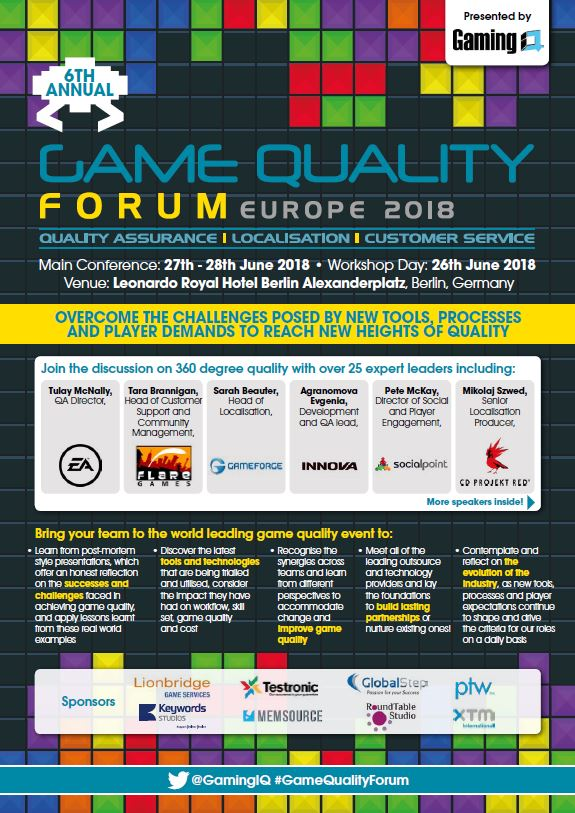 Onsite Agenda Game Quality Forum 2018