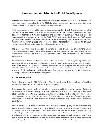 Autonomous Vehicles & Artificial Intelligence