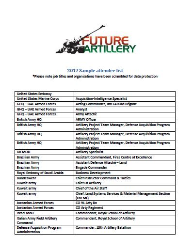 2017 Sample Attendee List