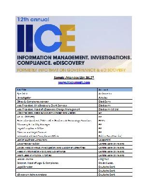 I.I.C.E Attendee List 2017