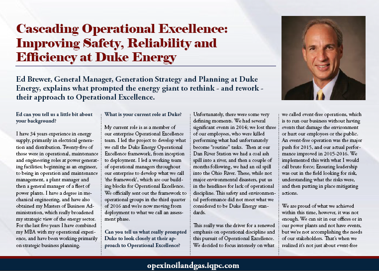 60 Seconds with Ed Brewer: Cascading Operational Excellence at Duke Energy