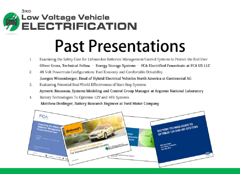 Low Voltage Vehicle Electrification Past Presentations