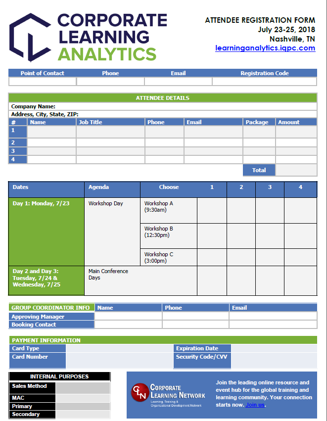 Corporate Learning Analytics Registration Form