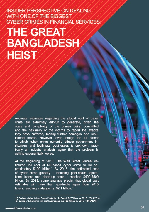 Insider Perspective on dealing with one of the biggest Cyber Crimes in Financial Services - The Great Bangladesh Heist