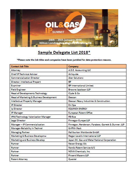 2018 Oil & Gas IP Sample Attendee List