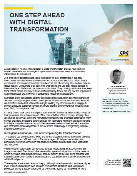 One Step Ahead with Digital Transformation