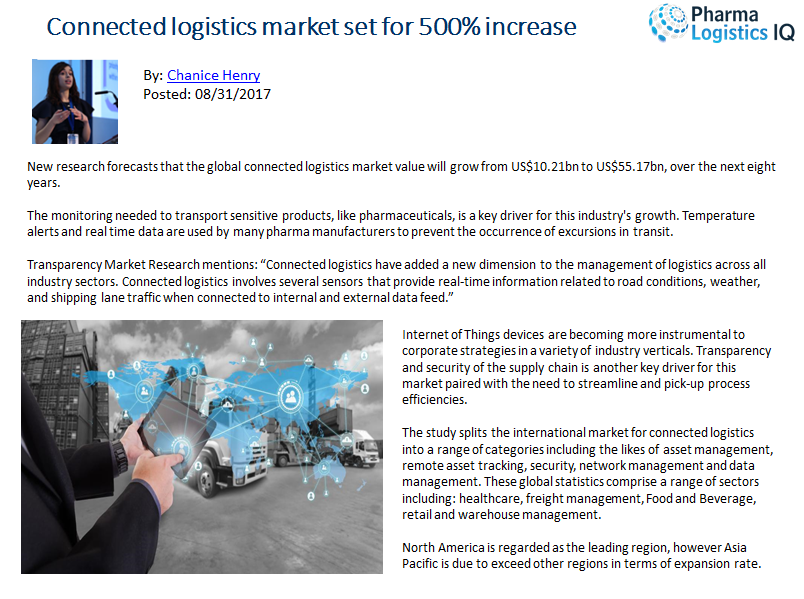 Connected logistics market set for 500% increase