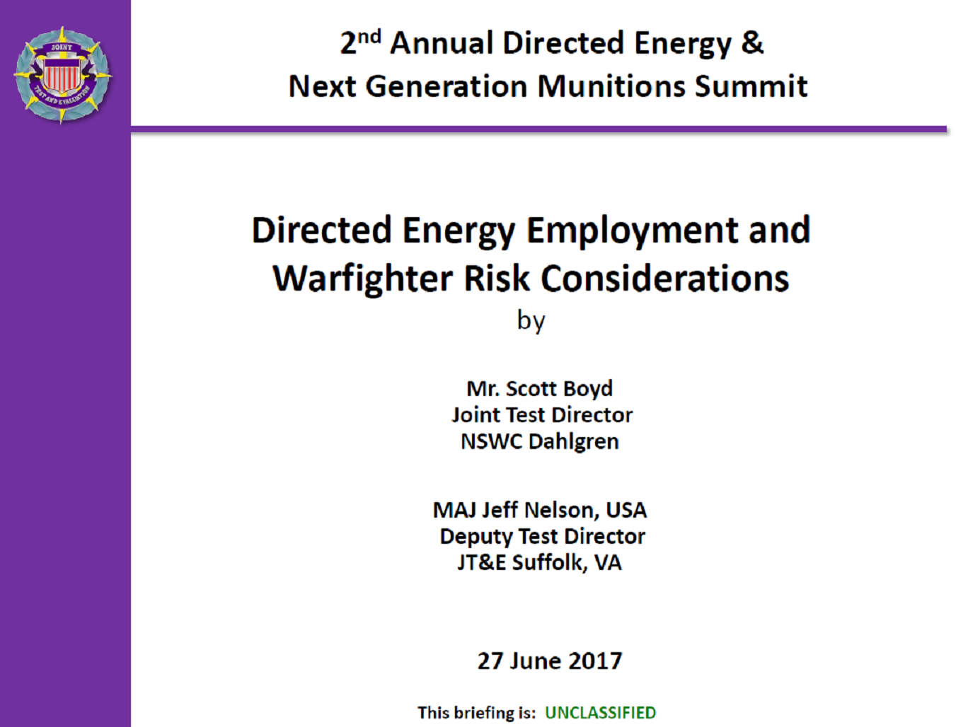 Directed Energy Employment and Warfighter Risk Considerations