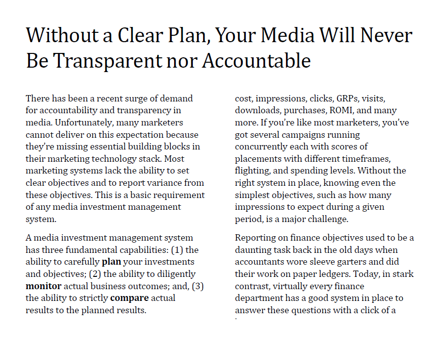 Without a Clear Plan, Your Media Will Never Be Transparent nor Accountable