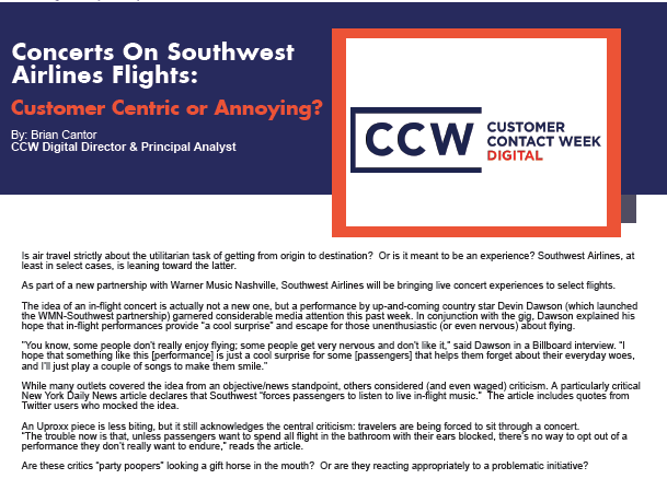 Concerts on Southwest Airlines: Customer Centric or Annoying?