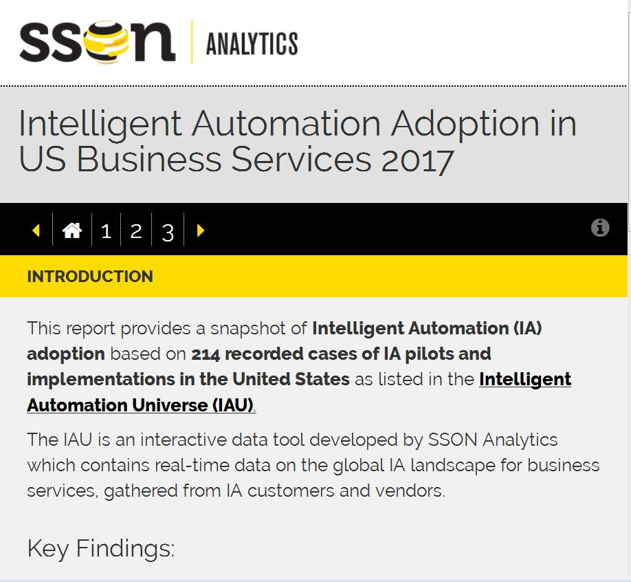 Intelligent Automation Adoption in US Business Services 2017