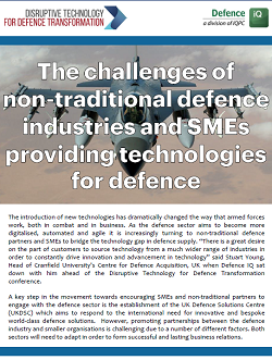Addressing the challenges non-traditional partners and SMEs face when providing technologies for defence