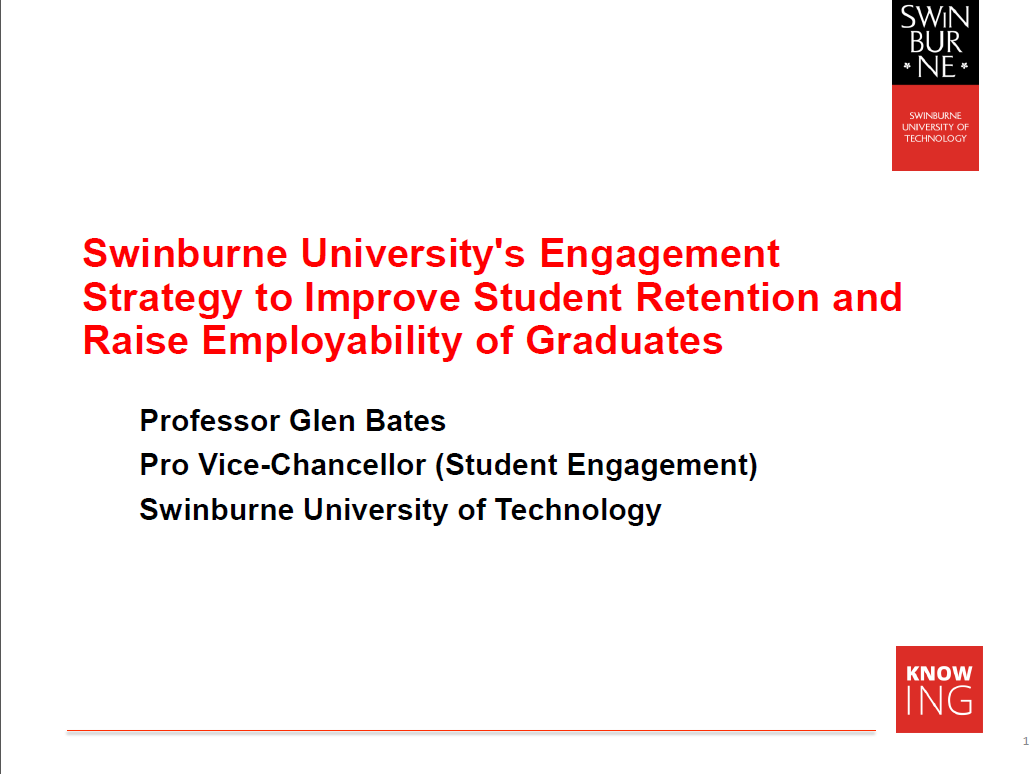 Swinburne University's Engagement Strategy To Improve Student Retention and Raise Employability of Graduates