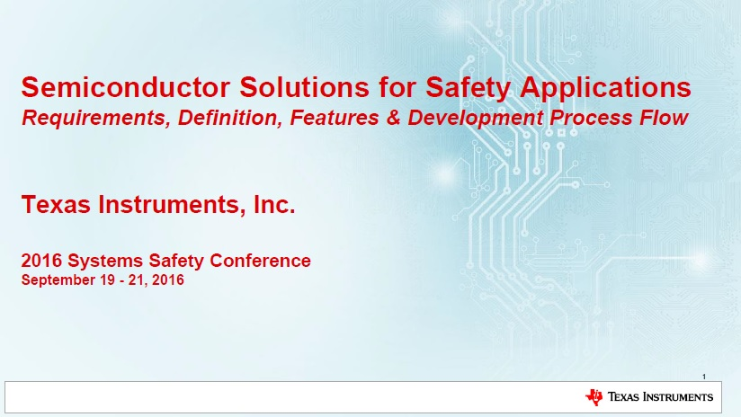 Texas Instruments Presentation on Semiconductor Solutions for Safety Applications