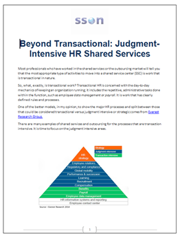 Beyond Transactional: Judgement-Intensive HR Shared Services