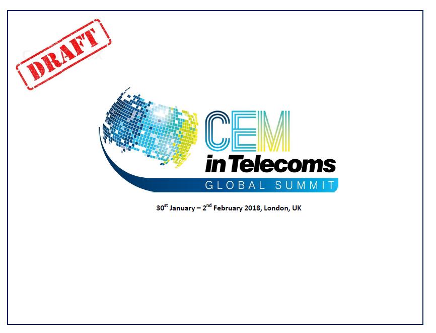 CEM in Telecoms Global Summit Agenda 2018