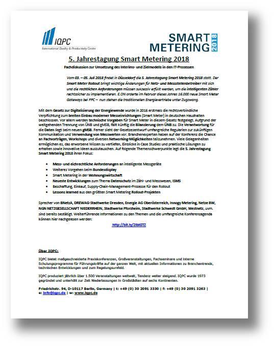Laden Sie sich hier die aktuelle Pressemitteilung zu Smart Metering 2018 kostenlos herunter
