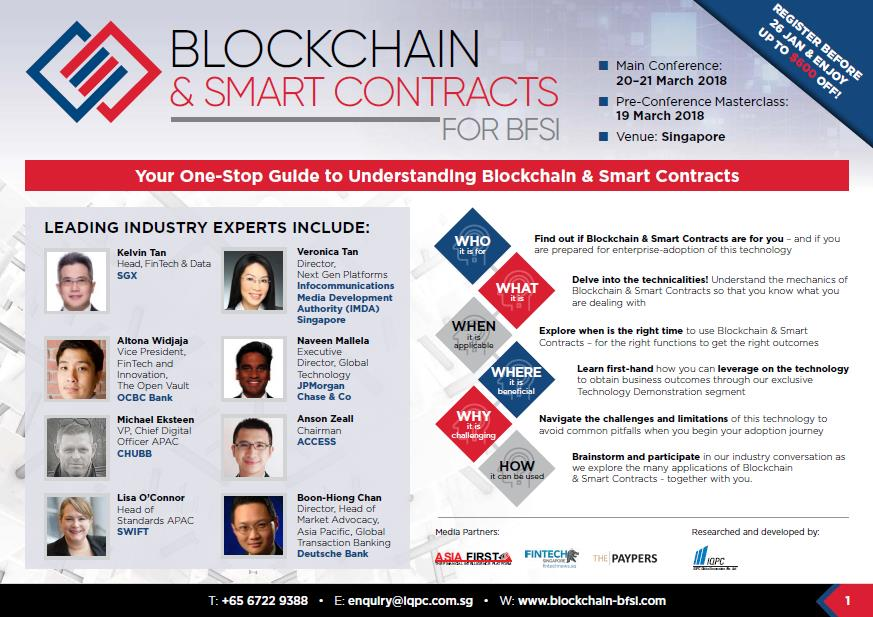 Blockchain & Smart Contracts for BFSI Asia Summit Brochure