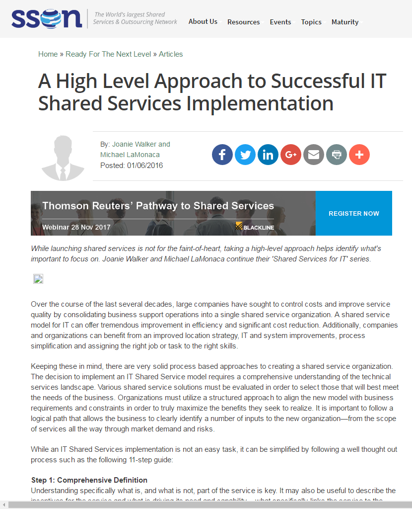 A High Level Approach to Successful IT Shared Services Implementation