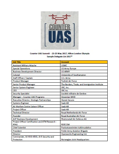 Counter UAS Attendee List 2017