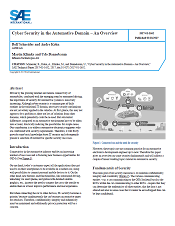 Cyber Security in the Automotive Domain - An Overview