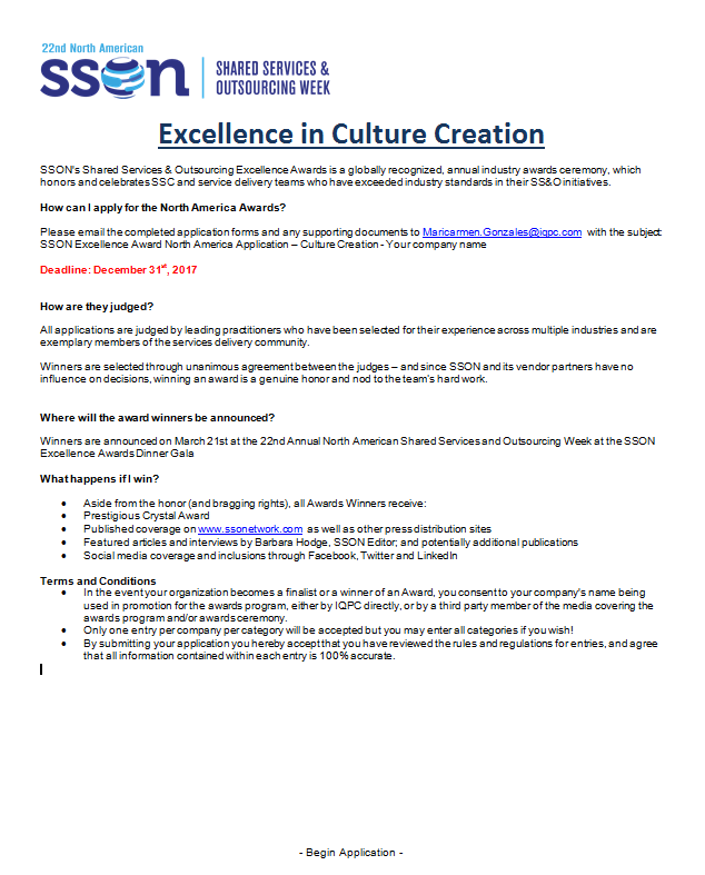 Excellence In Culture Creation Awards Application