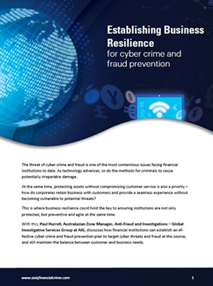 Establishing business resilience for cyber crime and fraud prevention