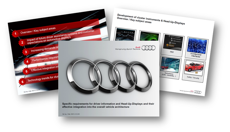 Audi presents on specific requirements for driver information and head-up-displays