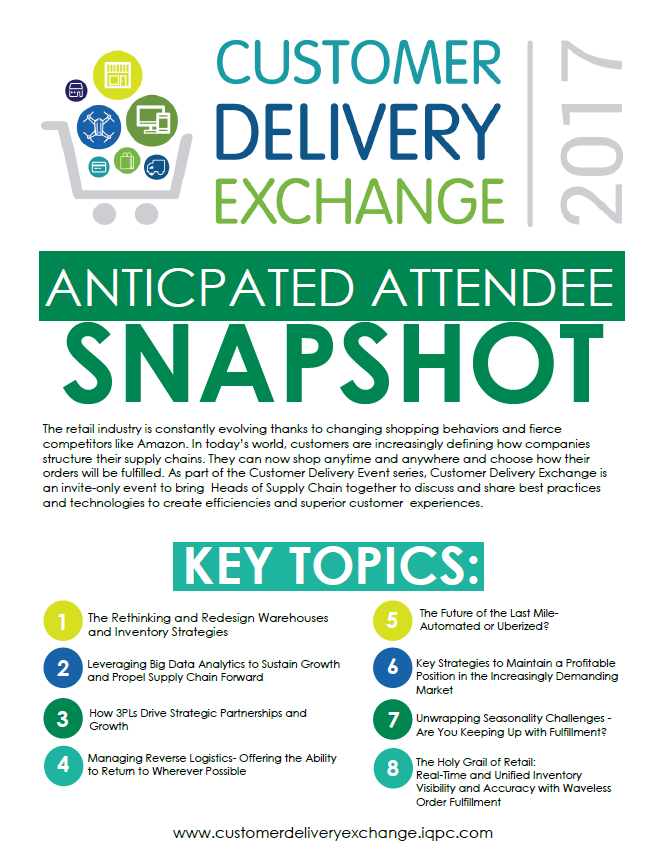 Customer Delivery Exchange Anticipated Attendee Snapshot