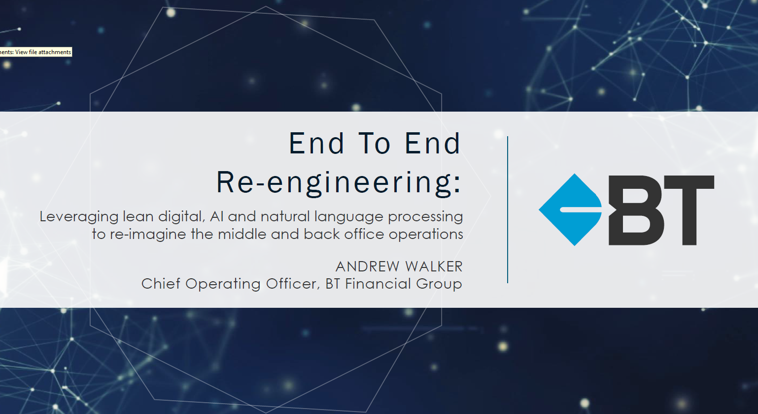 End-to-end re-engineering at BT Financial