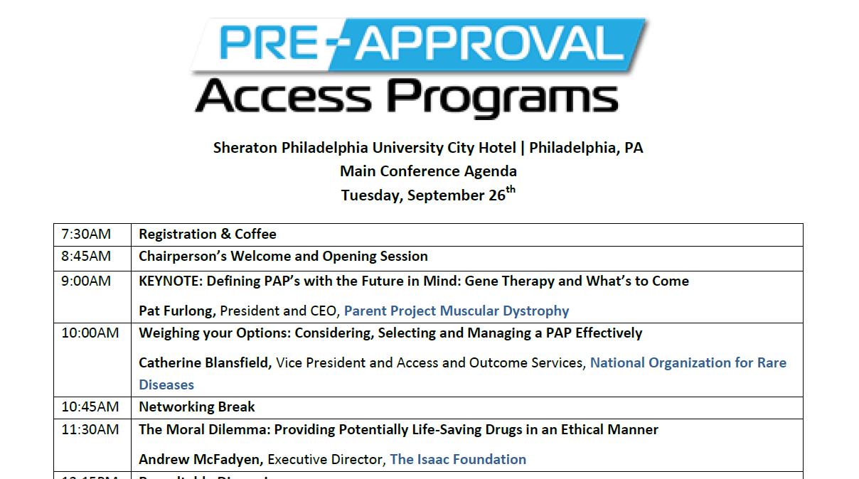 Pre-approval Access Programs Main Conference Day Agenda 2017