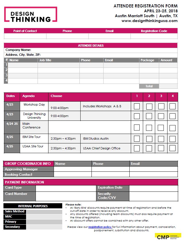 2018 Design Thinking Registration Form
