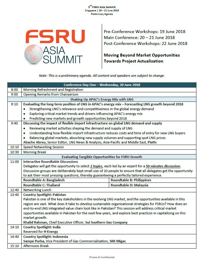 FSRU Asia Summit 2018 Agenda
