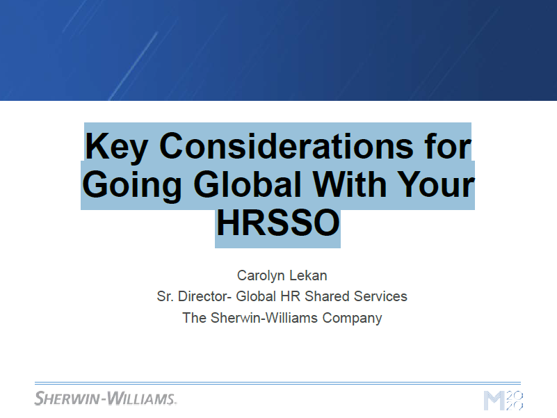 Sherwin Williams, Key Considerations for Going Global With Your HRSSO