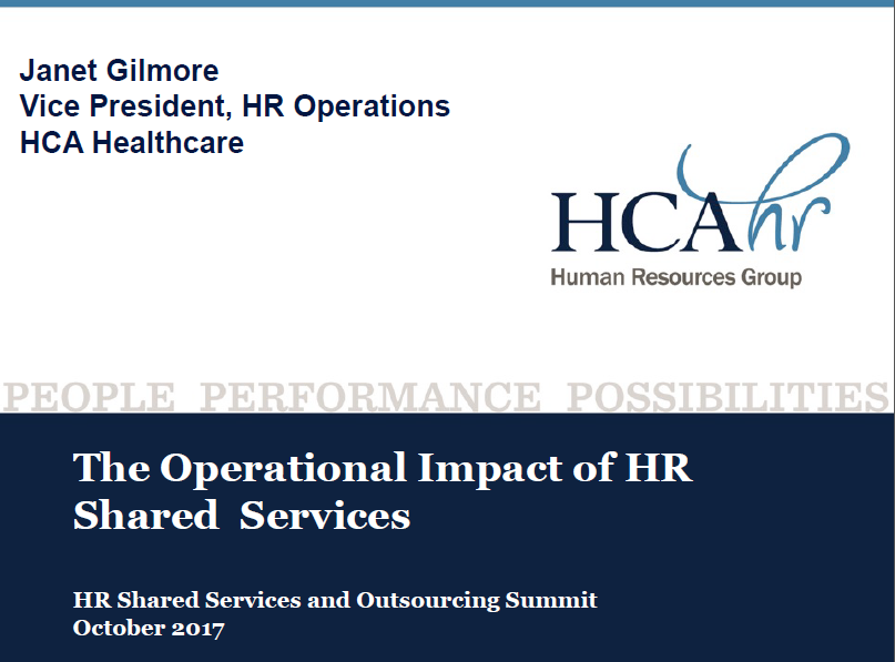 The Operational Impact of HR Shared Services, Janet Gilmore
