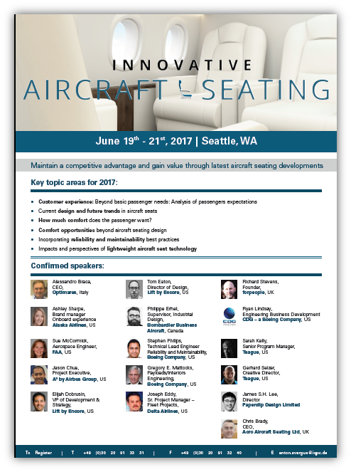 Aircraft Seating agenda 2017