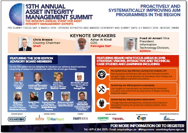 Brochure - 13th Annual Asset Integrity Management Summit