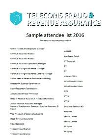 Attendee list 2016
