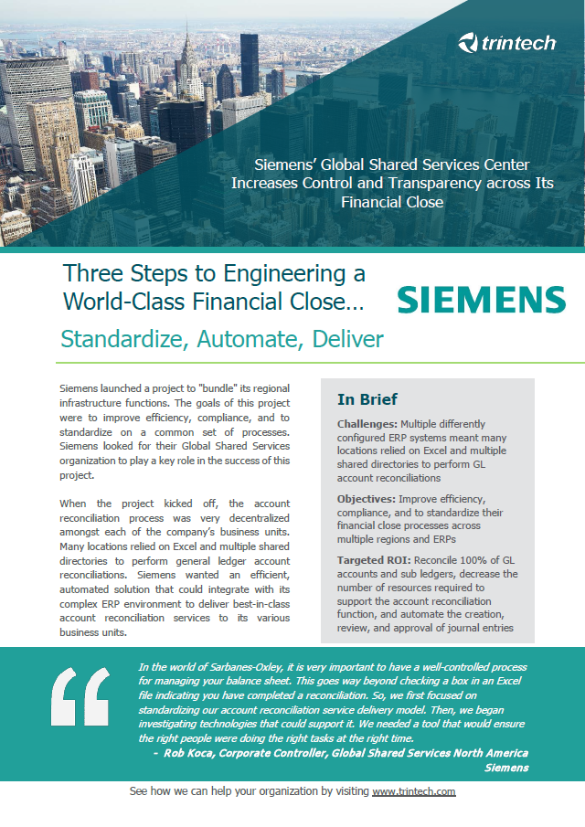 Three steps to engineering a world-class financial close...standardise, automate, deliver