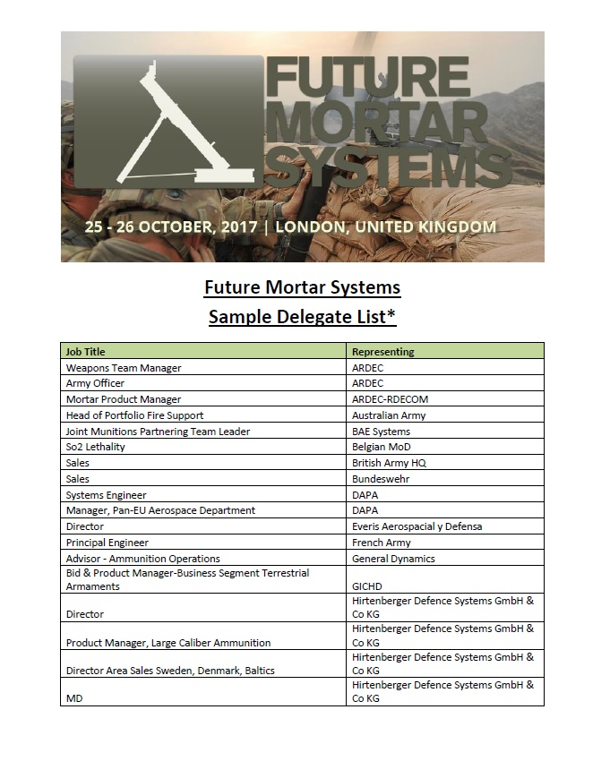 Future Mortar Systems 2018 - Sample Delegate List