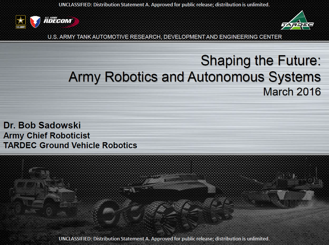 Shaping the Future: Army Robotics and Autonomous Systems